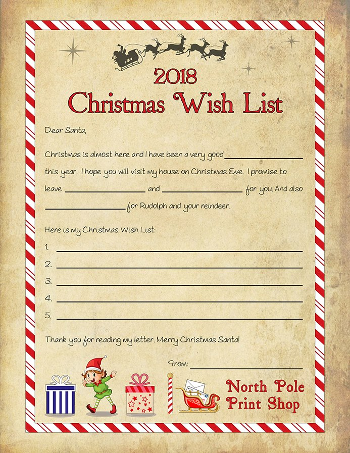 Written By Santa Free Christmas Wish List Template