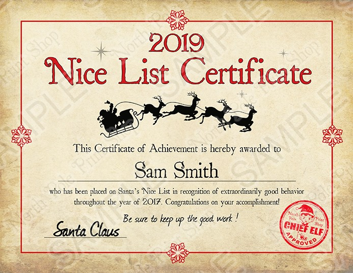 Nice List Certificate. Move your mouse over the image to highlight personalizations.