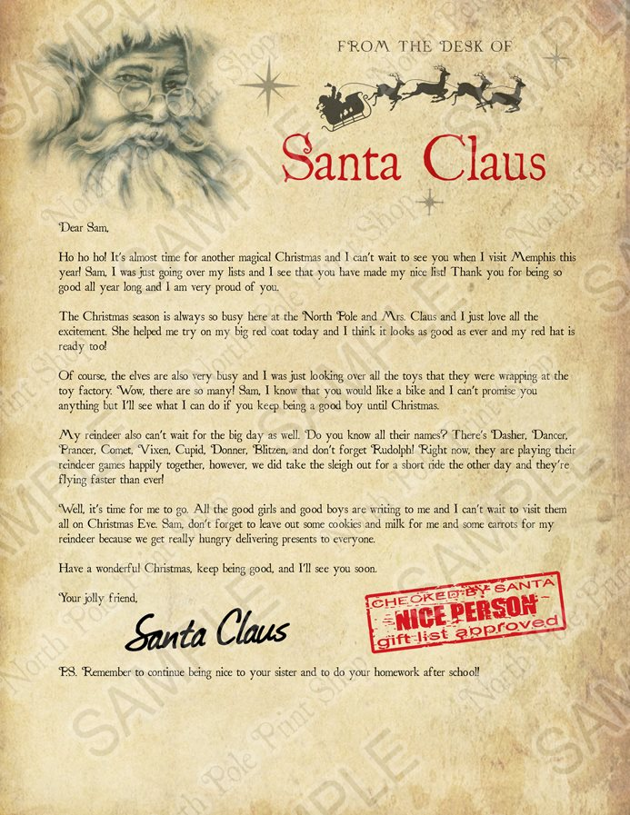 Santa's Letter No. 1. Move your mouse over the image to highlight personalizations.