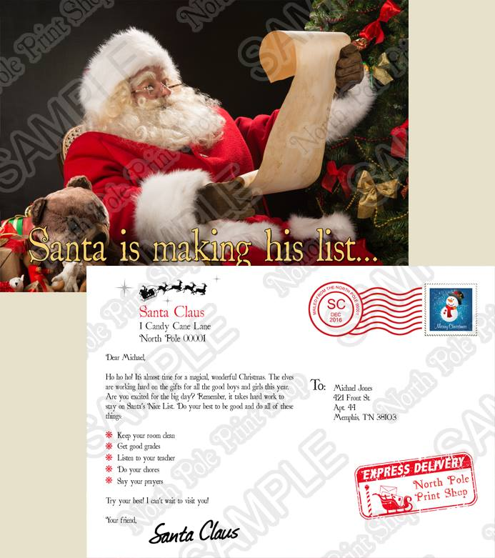 Santa's Postcard No. 2. Move your mouse over the image to highlight personalizations.